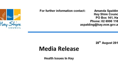 Media Release - Health Issues in Hay