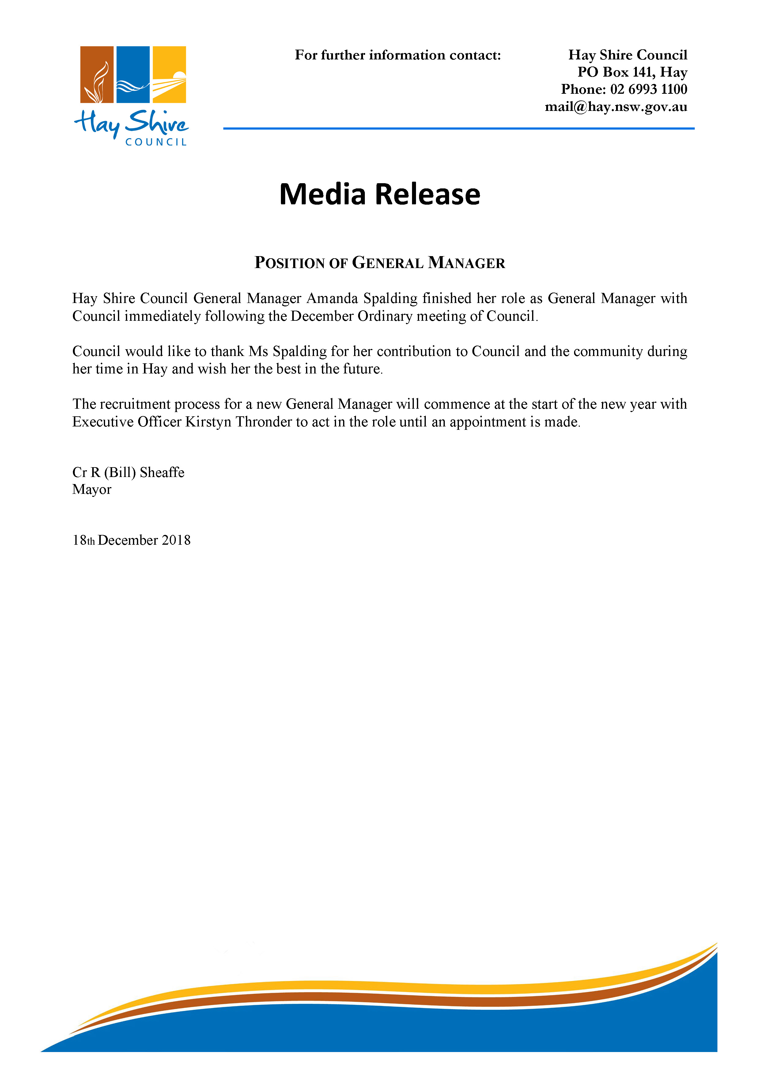 Media Release - Position of General Manager